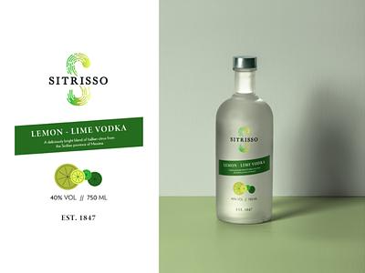 Sitrisso Vodka Bottle logodesign gradient logo lime lemon package design alcohol italy citris labeldesign label vodka