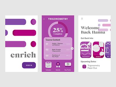 Enrich Mobile App uiuxdesign mobile app design mathematics maths math illustration logo mobile app ui  ux ux ui