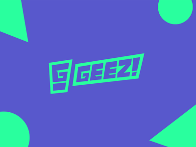 Geez! Sneaker News logo modern purple triangle circle typography illustrator geometric minimal design flat branding green logo green wow