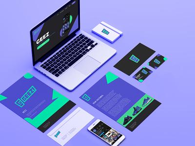 Geez Branding Mockup business card logotype modern typography flat logo geometric minimal branding green purple mockup website sneaker