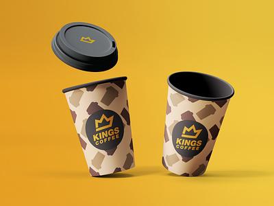 Kings Coffee Product Mockup typography icon geometric design flat branding coffeeshop coffee cup yellow gold product mockup king coffee