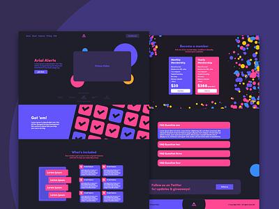 Arial Alerts Cook Group Website Design dark theme purple saas landing page design landing page vibrant minimalist flat geometric web design website