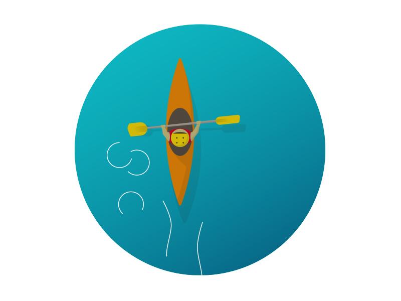 Kayaking colour kayaking illustration design