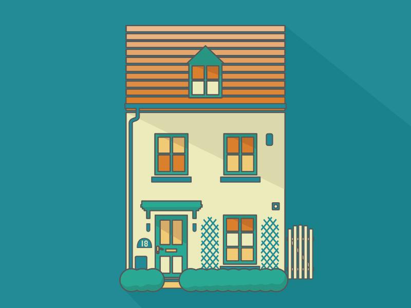 New House print design illustration house