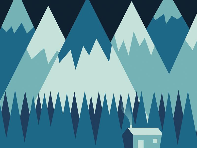 Christmas in the mountains illustration snow mountains christmas