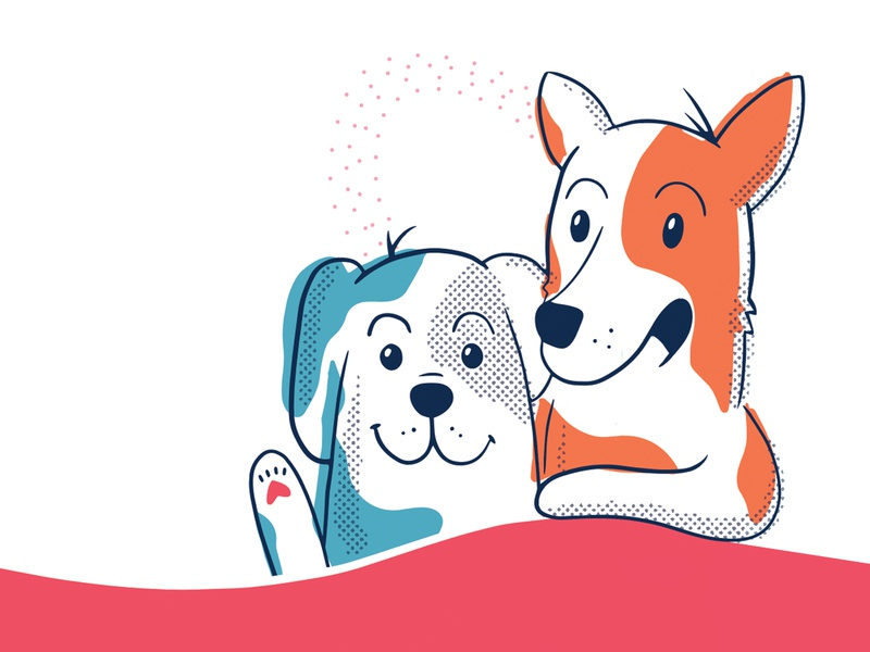 Pup Pals dog heart design vector illustration dogs
