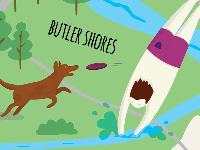 Austin Map shorts trees frisbee water diving dog vector illustration austin butler shores
