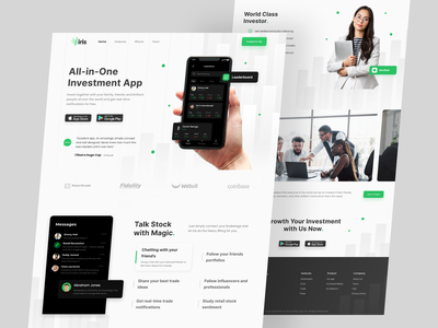 Iris Redesign - Investment App Landing Page redesign website light mode earning stock graphic design design bussiness green bank profit ui professional clean web design figma money app investment landing page