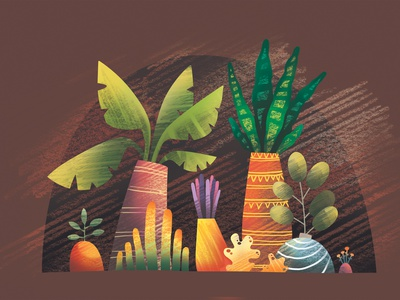 Exotic plants in colourful pots pastel decorative colourful pot succulent garden plants illustration handdrawn design art