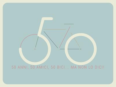 50 anni, 50 bici, 50 amici... birthday card bicycle bike 50 years 50