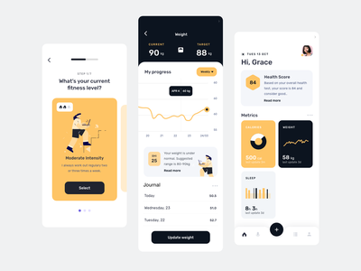Fitness app UI modern ui trendy mobile dashboard onboarding uidesign fitness app tracker minimal clean calorie running app ui fit sleep tracker fitness tracker gym app fitness mobile app uiux