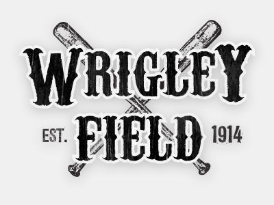Wrigley Field Concept vintage woodblock baseball