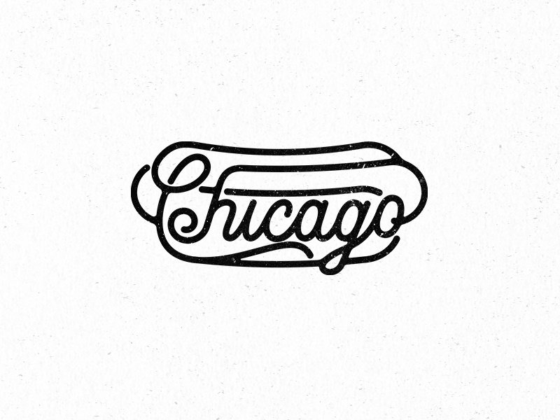 Chicago Style typography type vector deep-dish chicago hot-dog design