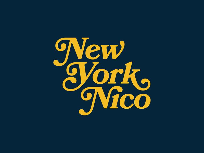 New York Nico type identity logo flat branding