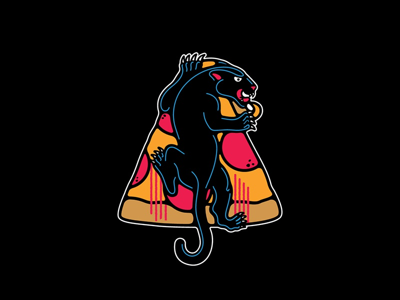Pizza Panther panther illustration vector drawing pepperoni deep-dish pizza