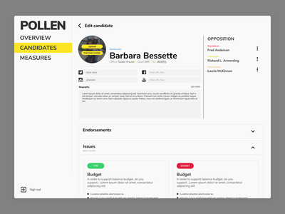 Pollen design interface web web app ui ux