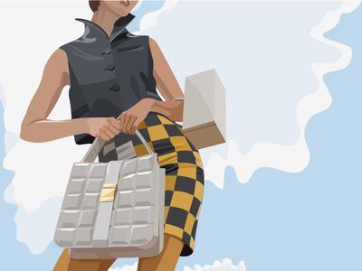 Девушка иллюстратор моды сумки девушка fashion illustration fashion digital art digital иллюстрация вектор векторная графика