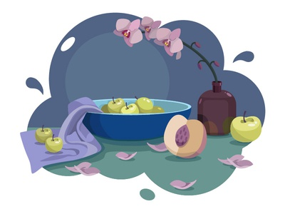 still life with orchids peach orchids flowers still life apple illustration illustration art vector illustration vector art vector