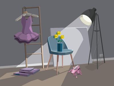 the shine creation items ballet room shadows shine illustraion vector illustration vectorart vector