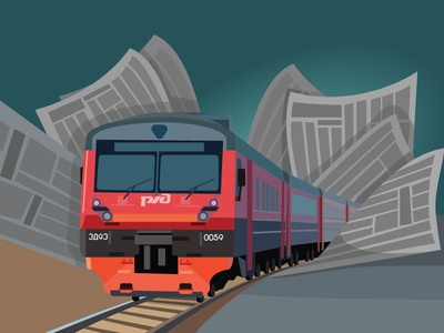 Train and newspapers railway red motion newspaper train illustration vector illustration vectorart vector