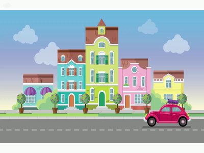 Country trip car city illustration city motion graphic motion illustration vector illustration