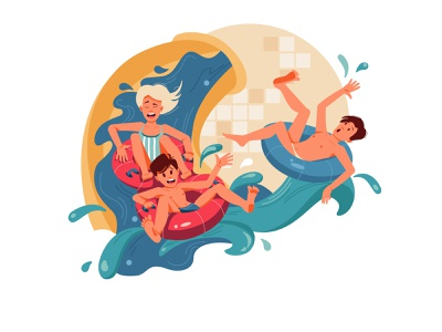 Aquapark water characters aquapark swimming pool swimming girl boy flat illustration vector illustration vector