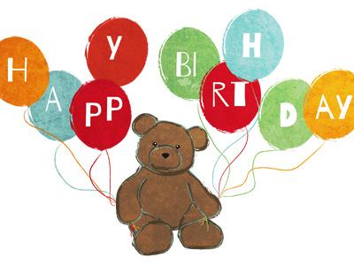 Birthday Bear bear animal birthday balloon drawing texture