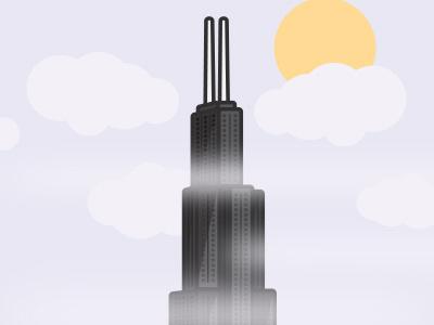 Hazy Chicago graphic chicago building skyscraper city icon design weather