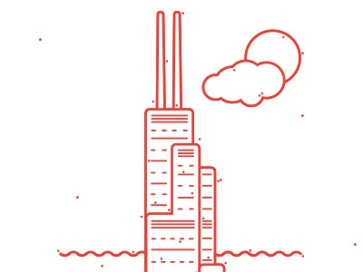 Skyscraper-Sears Tower building line drawing icon graphic chicago skyscraper red simple