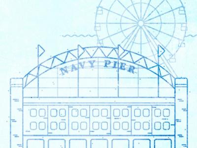 Chicago Landmarks- Navy Pier icon building graphic symbol design blue chicago landmark texture