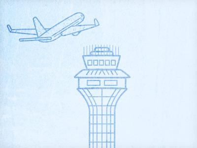 O'hare Airport clean simple blue airplane landmark plane icon