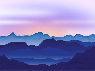 I've only seen a mountain once.... purple gradient dusk blue graphic design simple landscape