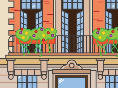 Brownstones....stay tuned! blue green orange illustration simple icon drawing buildings new york nyc