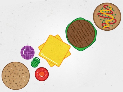 Mmmm...burger texture design simple icon grill illustration food