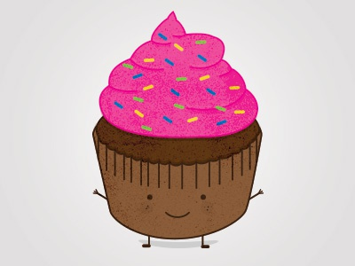 Just a Little Cupcake character pink cupcake cute texture design icon dessert illustration food