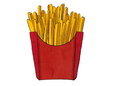 Yum! French fries! detail red yellow grunge fries french fries illustration food
