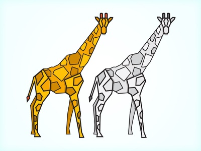 Geometric Giraffes gray yellow illustration line geometric symbol zoo giraffe animals