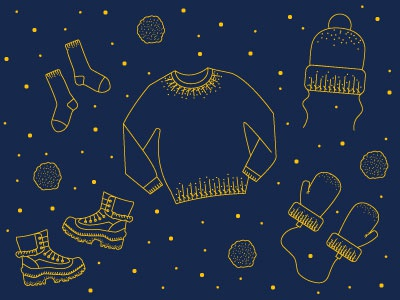Winter Ready navy yellow blue drawing illustration simple icons clothes snow winter