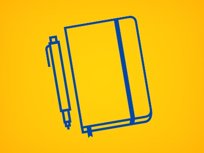 For all your hipsters.... yellow blue line simple illustration moleskin hipster hip office journal school icon