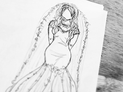Here comes the Bride figure drawing dress white black wedding bride sketch pencil illustration