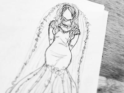 Here comes the Bride figure drawing dress white black wedding bride sketch pencil illustration