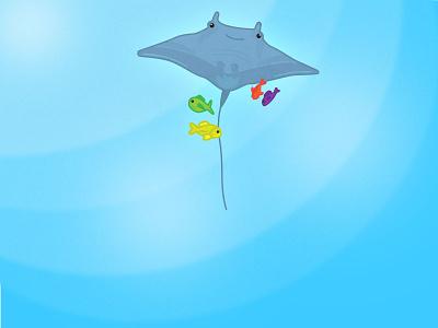Stingray Entourage blue design graphic flat water illustrator drawing fish ocean sea animal stingray