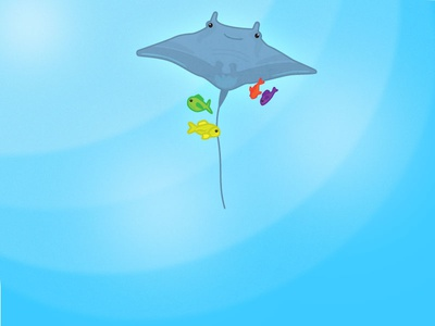 Stingray Entourage blue design graphic flat water illustrator drawing fish ocean sea animal stingray