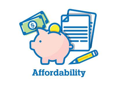 Affordability Icon Set muted design flat set illustration drawing line money icon