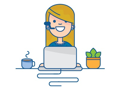 Work from Home character desk computer people person illustration graphic vector