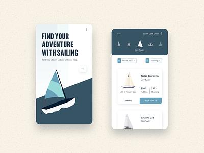 Sailing Rental Mobile App mobile kraken vector marketing app ux ui product design