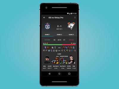 Dota 2 Post Game Results mobile dota game esports app ux ui