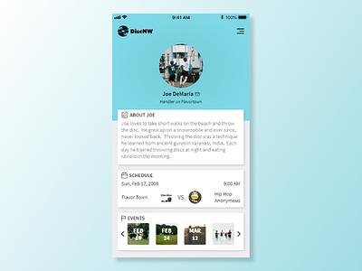 User Profile - Ultimate Frisbee discnw profile ultimate frisbee ultimate design web ux ui