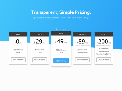Pricing Page marketing product design web ux ui