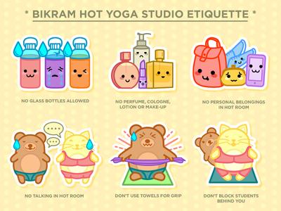 Bikram Hot Yoga Studio Etiquette pastel cutesy animals kawaii etiquette studio hot yoga yoga bikram
